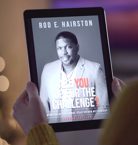 Rod Hairston book cover on tablet